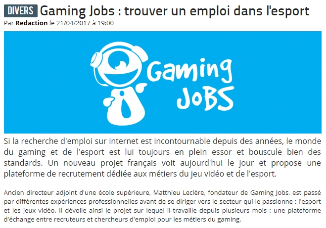 Logo du partenaire Gaming Jobs : trouver un emploi dans l'esport - Team-aAa.com