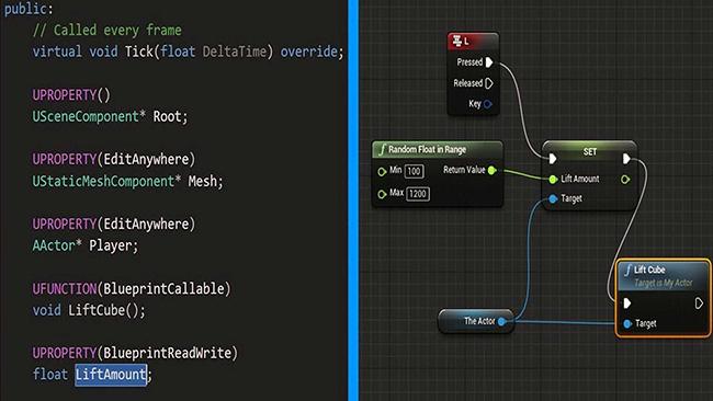 écran outilsant l'outil de visual scripting